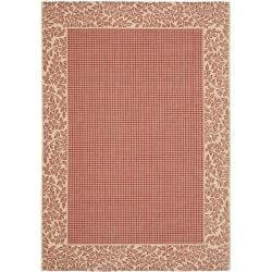 Safavieh Indoor/ Outdoor Border Red/ Natural Rug (9' x 12')