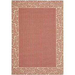 Indoor/ Outdoor Border Red/ Natural Rug (9' x 12')
