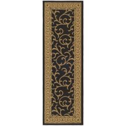 Black/Natural Indoor-Outdoor Leaf-Patterned Rug (2'7x 8'2)