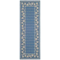 Blue/ Ivory Indoor Outdoor Rug (2'7x 8'2)