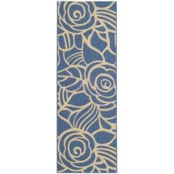 Blue/ Beige Indoor Outdoor Rug (2'7x 8'2)