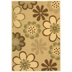 "Natural/Brown Flower-Motif Indoor/Outdoor Rug (2'7"" x 5')"