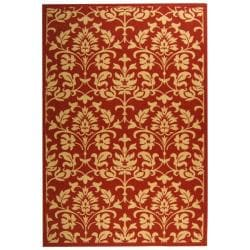 Red/ Natural Indoor Outdoor Rug (9' x 12')
