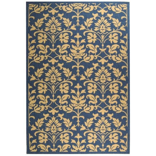 Safavieh Blue/ Natural Indoor Outdoor Rug (9' x 12')