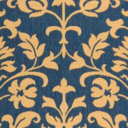 Blue/ Natural Indoor Outdoor Rug (9' x 12')