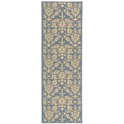 Blue/ Natural Indoor Outdoor Rug (2'4 x 9'11)