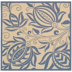 Safavieh Natural/ Blue Indoor Outdoor Rug (6'7 Square)
