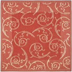 Indoor/ Outdoor Polypropylene Red/ Natural Rug (6'7 Square)
