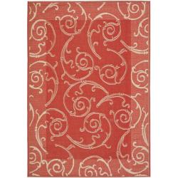 Geometric Red/ Natural Indoor/ Outdoor Rug (8' x 11'2)
