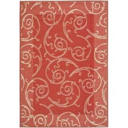 Indoor/ Outdoor Polypropylene Area Red/ Natural Rug (6'7 x 9'6)