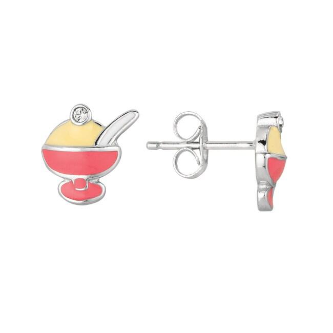 Sterling Silver and Enamel Ice Cream Earrings