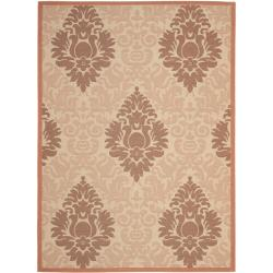 Cream/Terracotta Polypropylene Indoor/Outdoor Rug (6'7