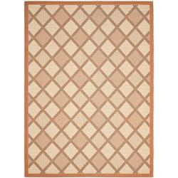 Indoor/ Outdoor Geometric Cream/ Terracotta Area Rug (5'3 x 7'7)