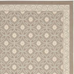 Dark Beige/ Beige Polypropylene Indoor Outdoor Rug (4' x 5'7)