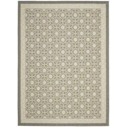 Safavieh Dark Grey/ Light Grey Indoor Geometric Outdoor Rug (6'7 x 9'6)