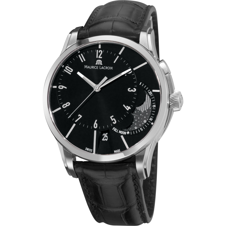 Maurice Lacroix Men's PT6318-SS001-330 'Pontos' Black Moonphase-dial Automatic Watch