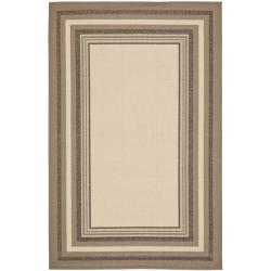 Water-resistant Beige/ Dark Beige Indoor Outdoor Rug (8' x 11'2)