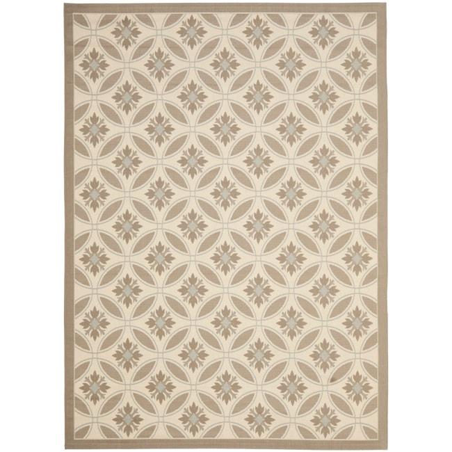 Safavieh mold resistant beige dark beige indoor outdoor for 7x9 bathroom designs