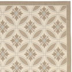 Safavieh Mold-resistant Beige/ Dark Beige Indoor Outdoor Rug (8' x 11'2)