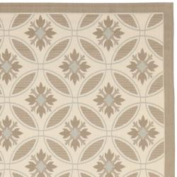 "Safavieh Easy-to-Maintain Beige/ Dark-Beige Geometric Indoor/ Outdoor Powerloomed Rug (4' x 5'7"")"