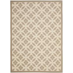 Safavieh Easy-to-Maintain Beige/ Dark-Beige Geometric Indoor/ Outdoor Powerloomed Rug (4' x 5'7