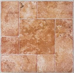 Self-Adhesive Beige Terracotta Marble Vinyl Floor Tiles (12 x 12) 60 Square Feet