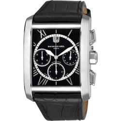 Raymond Weil Men's 'Don Giovanni' Black Dial Black Leather Strap Watch