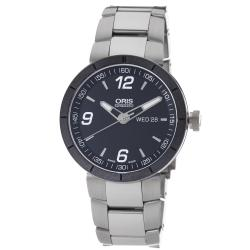 Oris Men's 735 7651 4174 MB 'TT1' Black Dial Stainless Steel Bracelet Automatic Watch
