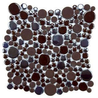 SomerTile 11.25x12-inch Posh Bubble Brown Porcelain Mosaic Tiles (Set of 10)