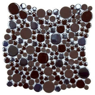 SomerTile 11.25x12-inch Posh Bubble Brown Porcelain Mosaic Wall Tile (Case of 10)