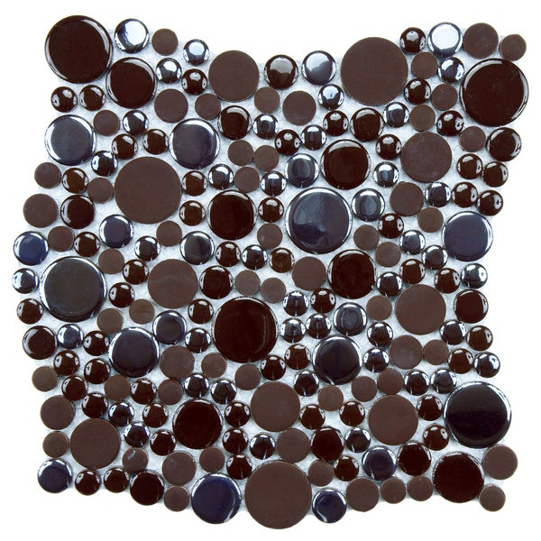 SomerTile 11.25x12-inch Posh Bubble Brown Porcelain Mosaic Wall Tile (Case of 10)