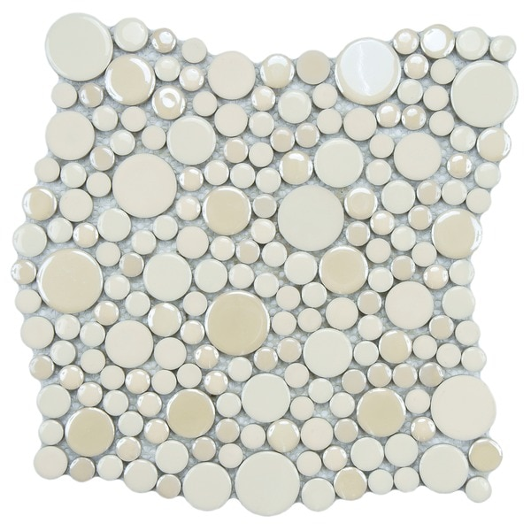 SomerTile 11.25x12-inch Posh Bubble Almond Porcelain Mosaic Wall Tile (Case of 10)
