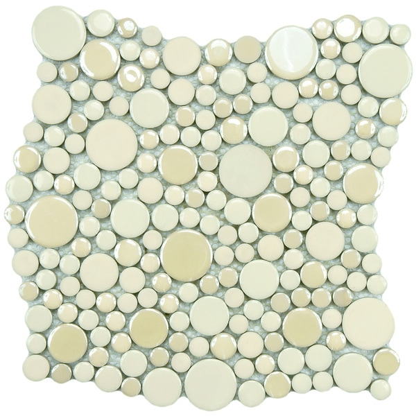 SomerTile 11.25x12-inch Posh Bubble Almond Porcelain Mosaic Tiles (Set of 10)