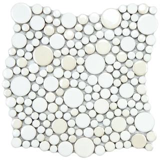 SomerTile 11.25x12-inch Posh Bubble White Porcelain Mosaic Tiles (Set of 10)