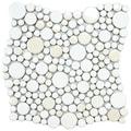 SomerTile 11.25x12-inch Posh Bubble White Porcelain Mosaic Tiles (Set of 10)