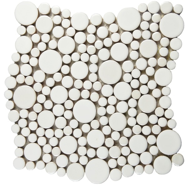 SomerTile 11.25x12-inch Posh Bubble White Porcelain Mosaic Wall Tile (Case of 10)