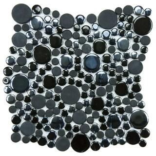 SomerTile 11.25x12-inch Posh Bubble Black Porcelain Mosaic Tiles (Set of 10)