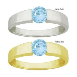 10k Gold Aquamarine Bold Contemporary Round Ring