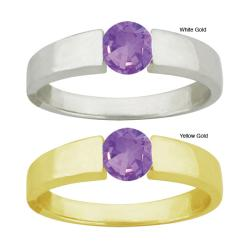 10k Gold Synthetic Amethyst Bold Contemporary Round Ring