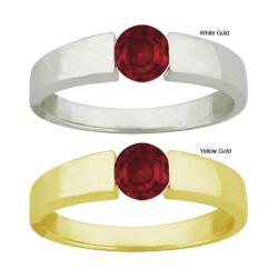 10k Gold Synthetic Garnet Bold Contemporary Round Ring