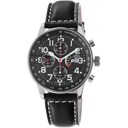 Zeno Men's P557PR-A1 'Retro' Black Dial Black Leather Strap Automatic Watch