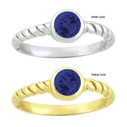 10k Gold Synthetic Sapphire Contemporary Round Ring