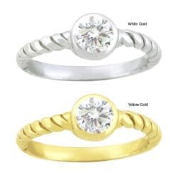 10k Gold Synthetic White Zircon Contemporary Round Ring