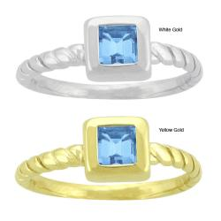 10k Gold Twist Shank Synthetic Blue Zircon Contemporary Square Ring
