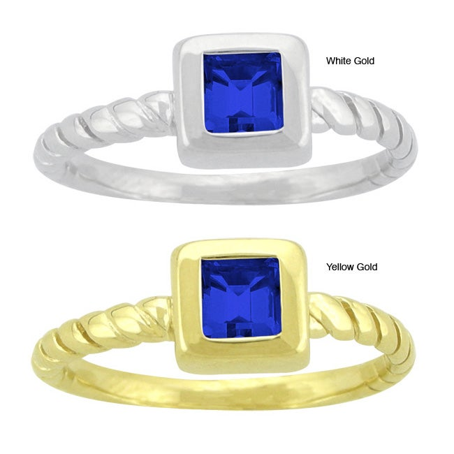 10k Gold Prong-set Synthetic Sapphire Contemporary Square Ring