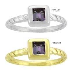 10k Gold Synthetic Alexandrite Contemporary Square Ring