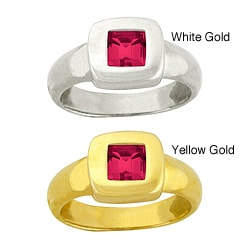 10k Gold Synthetic Ruby Contemporary Square Ring