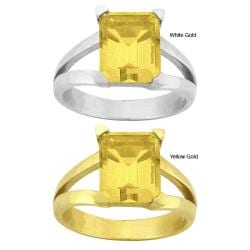 10k Gold Synthetic Golden Topaz Contemporary Split Shank Ring