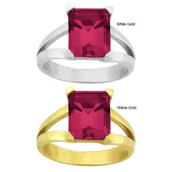 10k Gold Emerald-cut Synthetic Ruby Contemporary Split Shank Ring