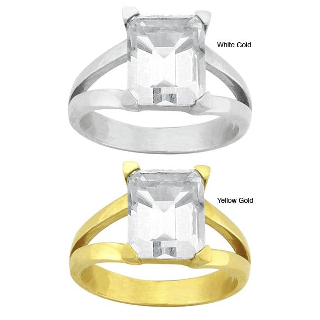 10k Gold Emerald-cut Synthetic White Zircon Contemporary Split Shank Ring